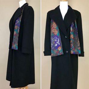 Vintage 80s Alorna Black & Floral Wool Trench Coat